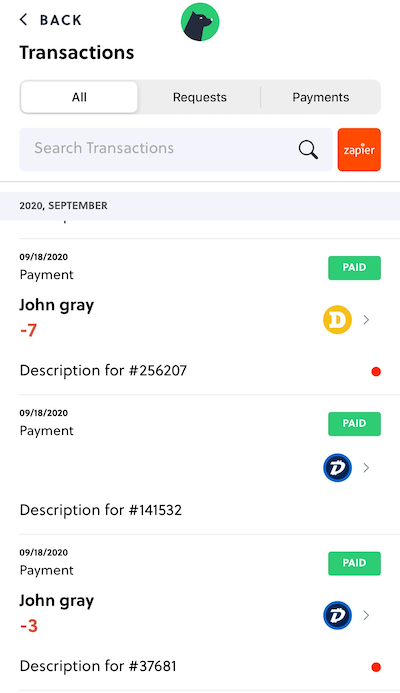 Pay Link Transaction Histories
